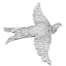 Vintage Hand Wrought Sterling Silver Bird Brooch