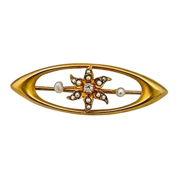 Darling 14k Edwardian Brooch With Seed Pearls and Diamond Center