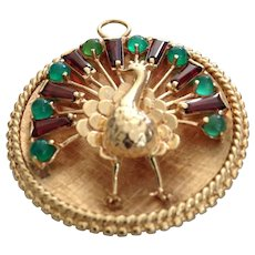 Fabulous and Heavy 14k Vintage Peacock Pendant with Tourmaline and Chrysoprase