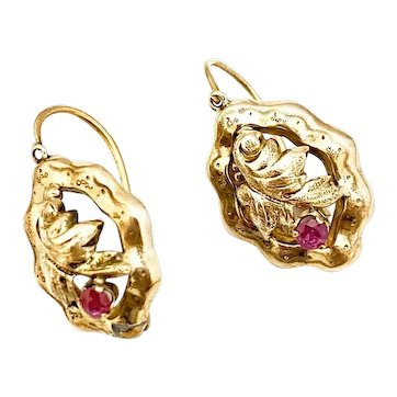 Antique  Victorian 14k Victorian Ruby Earrings.