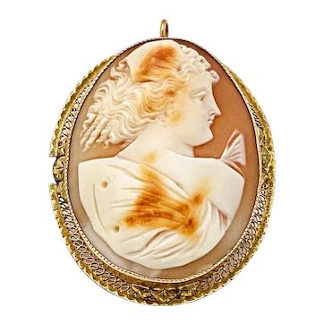Antique 10k Cameo Set in Filigree Frame with Butterfly