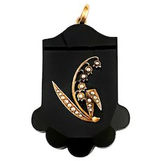 Antique Gold and Pearl Black Onyx Lily of the Valley Pendant