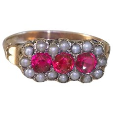 Charming Antique Victorian 10k  Ring with Seed pearls