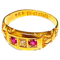 Victorian 18k Band Ring With Rubies and Diamond Circa 1902