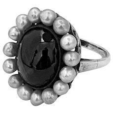Vintage Sterling Black Obsidian Ring Surrounded By Pearls