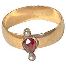 Unusual Antique 10k Bohemian Garnet and Pearl Ring