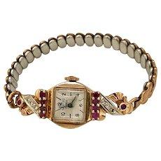 Retro 14k Rose Gold Sandford Watch - Rubies and Diamonds