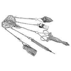 Fabulous Antique Victorian Sterling Silver Sewing Chatelaine c 1900
