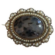 Civil War Era Dated Gold, Pearl and Moss Agate Memory Pin