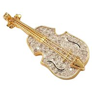 Vintage 14k Gold and Diamond Violin Brooch