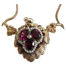 Exquisite Victorian Gold Necklace Rhodolite Garnets