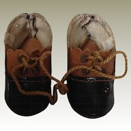 Late 19thC leather dolls shoes