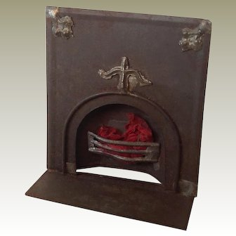 Victorian inset metal fireplace for early dolls house
