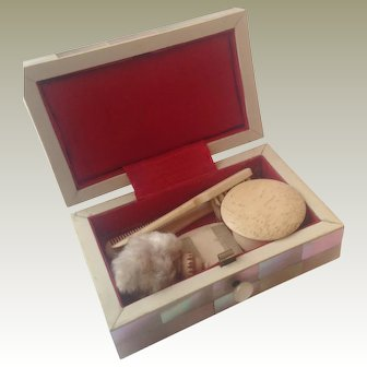 19thC dolls brush set in mother of pearl box