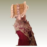 19thC straw bonnet for fashion doll