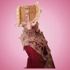 19thC straw bonnet for fashion doll