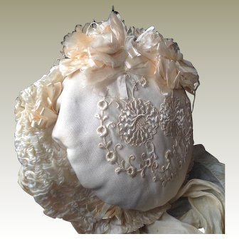Original 19thC silk dolls bonnet