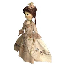 18thC English wooden doll in fabulous early costume