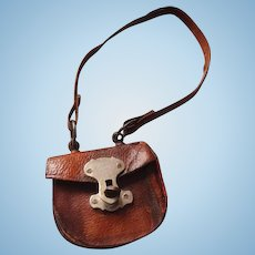 19thC leather fashion doll purse