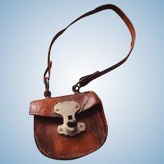 19thC leather fashion doll purse