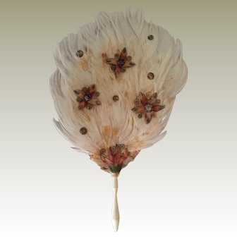 Rare early dolls feather fan