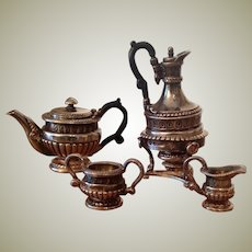Exquisite tiny solid silver dolls house tea set