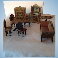 Complete set of 19thC German Lithograph dolls house furniture