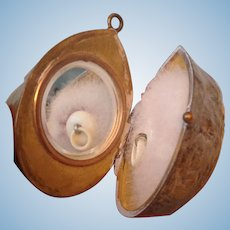 19thC brass walnut shell compact for fashion doll