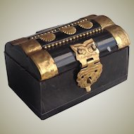 19thC miniature casket for fashion doll