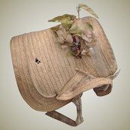 Original 19thC straw dolls bonnet