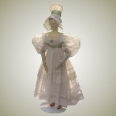 Original 1830 Dress and Bonnet for early wooden doll