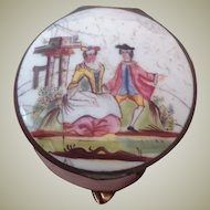 18thC Bilston Enamel patchbox for your English Wooden