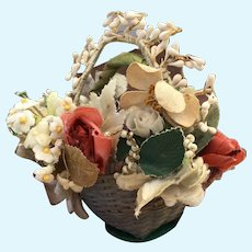 Charming early basket filled with flowers for early doll