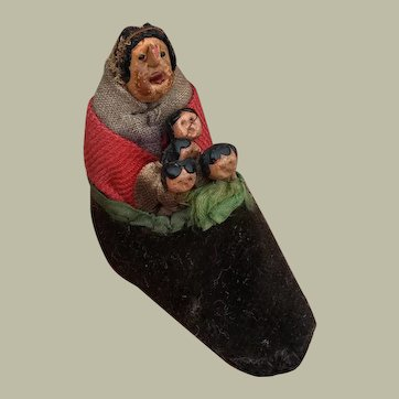 Extremely Rare early 19thC miniature old woman in shoe