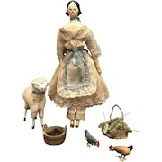 """8"""" Carved Wooden Doll Circa 1840"""