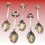 Set of Five Figural Teaspoons From London Silver Plate