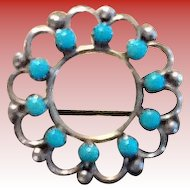 Turquoise and Sterling round Pin/Brooch