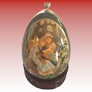 Russian Wooden Easter Egg Lacquered Finish Fire Bird and the Gray Wolf