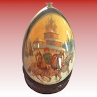 Russian Hand-painted Lacquered  Egg  Troika and the Summer Palace