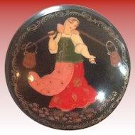 Russian Lacquerware Round  Box Cinderella