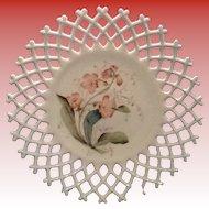 Atterburry Lattice Edge milk Glass Plate with a Botanical Pattern