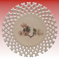 Atterburry  Lattice Edge  Milk Glass Plate with a Botanical Pattern