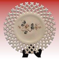 Atterbury Lattice Edge Milk Glass Plate with Floral Pattern