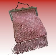 Antique Micro Beaded Coral Purse