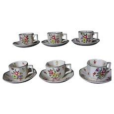 Royal Doulton Old Leeds Sprays Six Cup Demitasse Set