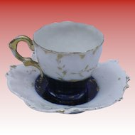 Antique Flowing Blue / Flo Blu Demitasse Cup and Saucer
