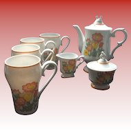 "Vintage Retro 70""s Flower Power  Coffee Set with Matching Mugs"