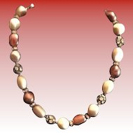 1960's Baroque Faux Pearls and Rhinestone Necklace