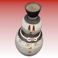 Hand Thrown Snowman Candleholder Signed