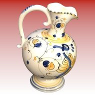Cream, Yellow, Blue,  German Pitcher Very Old